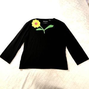 Michael Simon black sweater with crocheted flower